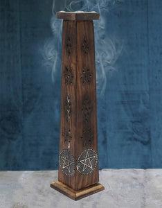 Wooden Artisan Decor Table Top Incense Stick Holder Burner Tower Stand (Star) - DharmaObjects