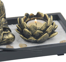 Load image into Gallery viewer, Zen Garden Buddha Statue Lotus Tea Light Candle and Incense Holder Complete Set Home Décor Gift - DharmaObjects