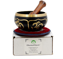 Load image into Gallery viewer, Relaxing Yoga Meditation Om Peace Singing Bowl/Silk Cushion/Rosewood Mallet Set - DharmaObjects
