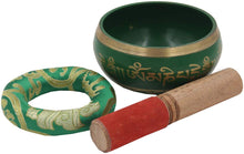 Load image into Gallery viewer, Medium ~ Tibetan OM MANI Singing Bowl Set ~ With Mallet, Brocade Cushion & Carry Bag ~ For Meditation, Chakra Healing, Prayer, Yoga (Green) - DharmaObjects