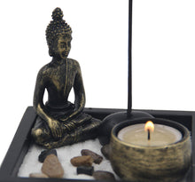 Load image into Gallery viewer, Mini Zen Garden Buddha Statue Candle and Incense Holder Complete Set Home Décor Gift - DharmaObjects