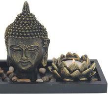 Load image into Gallery viewer, Zen Garden Buddha Head Lotus Tea Light Candle Holder Set Home Décor Gift - DharmaObjects