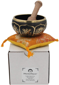 Gorgeous MEDITATION 8 Lucky Symbols Singing Bowl With Mallet - DharmaObjects