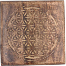 Load image into Gallery viewer, Solid Mango Wood Hand Carved Puja Shrine Altar Meditation Table (Flower of Life) - DharmaObjects
