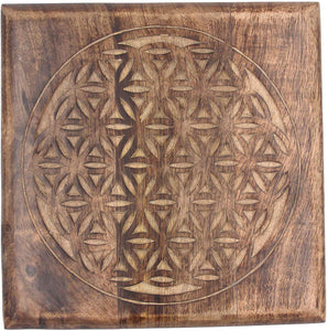 Solid Mango Wood Hand Carved Puja Shrine Altar Meditation Table (Flower of Life) - DharmaObjects