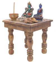 Load image into Gallery viewer, Solid Mango Wood Hand Carved Prayer Puja Shrine Altar Meditation Table (Tree of Life) - DharmaObjects