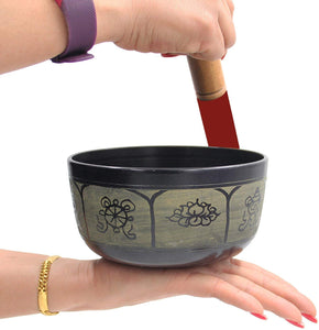 Yoga Meditation 6 Inches 8 Lucky Symbols Singing Bowl/Cushion/Leather Mallet Gift Set (Black) - DharmaObjects