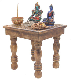 Solid Mango Wood Hand Carved Puja Shrine Altar Meditation Table (Star Moon) - DharmaObjects