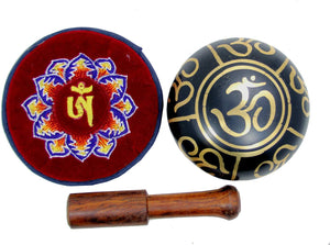 Relaxing Yoga Meditation Om Peace Singing Bowl/Silk Cushion/Rosewood Mallet Set - DharmaObjects