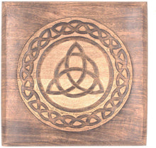 Load image into Gallery viewer, Solid Mango Wood Hand Carved Puja Shrine Altar Meditation Table (Triquetra) - DharmaObjects