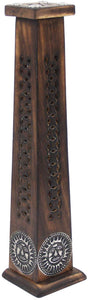 Wooden Artisan Decor Table Top Incense Stick Holder Burner Tower Stand (Sun) - DharmaObjects