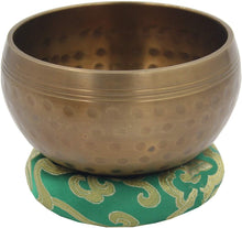 Load image into Gallery viewer, Silk Brocade Ring Cushion Pillow for Tibetan Singing Bowl Hand Made Nepal (Green) - DharmaObjects