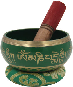 Medium ~ Tibetan OM MANI Singing Bowl Set ~ With Mallet, Brocade Cushion & Carry Bag ~ For Meditation, Chakra Healing, Prayer, Yoga (Green) - DharmaObjects