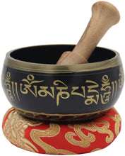 Load image into Gallery viewer, Tibetan OM MANI Singing Bowl Set ~ With Mallet, Brocade Cushion & Carry Bag ~ For Meditation, Chakra Healing, Prayer, Yoga - DharmaObjects