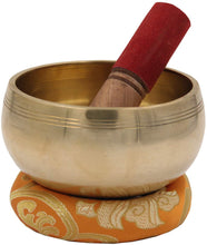 Load image into Gallery viewer, Medium ~ Tibetan OM MANI Singing Bowl Set ~ With Mallet, Brocade Cushion & Carry Bag ~ For Meditation, Chakra Healing, Prayer, Yoga (Yellow) - DharmaObjects