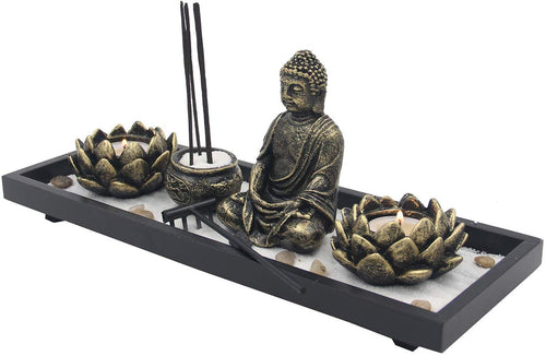 Zen Garden Buddha Statue Lotus Tea Light Candle and Incense Holder Complete Set Home Décor Gift - DharmaObjects