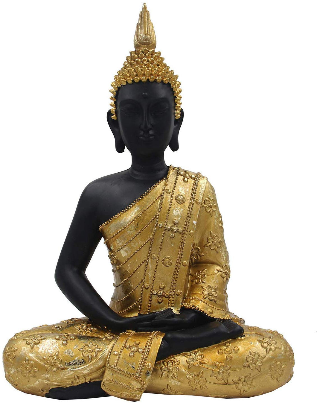 Meditating Buddha Statue Zen Mindfulness Peace Harmony (Gold, 16 Inches) - DharmaObjects