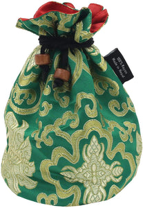 Tibetan Handmade Brocade Cloth Singing Bowl Storage Carrying Case Bag (Green) - DharmaObjects