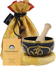 Load image into Gallery viewer, Tibetan OM Singing Bowl Set ~ With Mallet, Brocade Cushion & Carry Bag ~ For Meditation, Chakra Healing, Prayer, Yoga - DharmaObjects