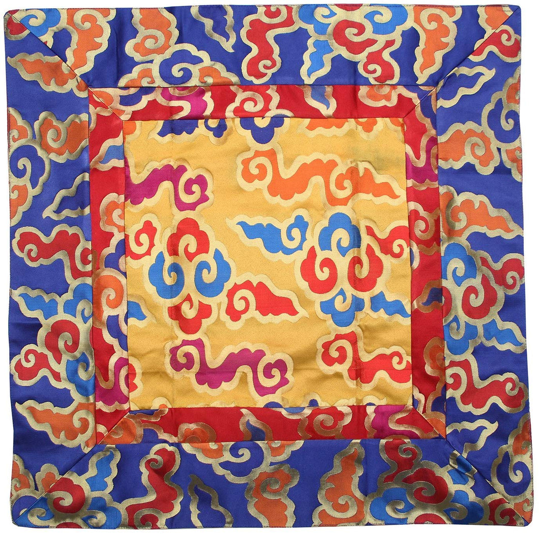 Tibetan Cloud Silk Brocade Table Runner/Shrine Cover/Altar Cloth/Table Cover (34 X 34 Inches) - DharmaObjects