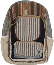 Load image into Gallery viewer, Bohemian Handmade & Print Large Multi Pocket Hemp Rucksack Backpack - DharmaObjects