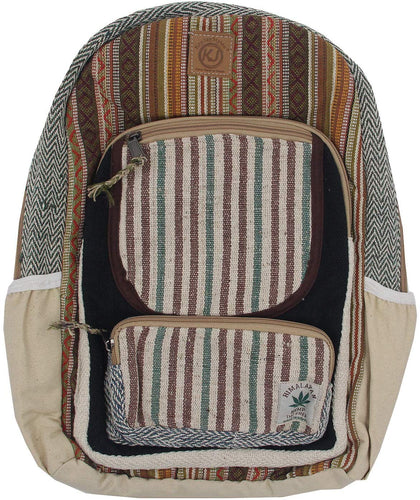 Bohemian Handmade & Print Large Multi Pocket Hemp Rucksack Backpack - DharmaObjects
