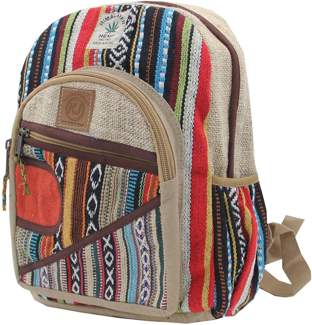 Handmade Natural Hemp Nepal Backpack Purse for Women & Girls Small Lightweight Daypack (DAYPACK4) - DharmaObjects