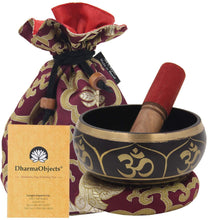 Load image into Gallery viewer, Tibetan OM Singing Bowl Set ~ With Mallet, Brocade Cushion & Carry Bag ~ For Meditation, Chakra Healing, Prayer, Yoga (OM, Purple) - DharmaObjects