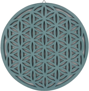 Large Flower of Life Sacred Geometry Positive Energy Handcrafted Wooden Wall Decor Hanging Art (Turquoise, 15.75 Inches) - DharmaObjects