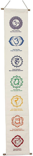 White Cotton 7 Chakras Signs Banner Wall Decor Wall Hanging (Chakra 3) - DharmaObjects