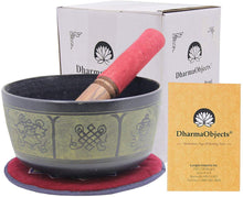 Load image into Gallery viewer, Yoga Meditation 6 Inches 8 Lucky Symbols Singing Bowl/Cushion/Leather Mallet Gift Set (Black) - DharmaObjects
