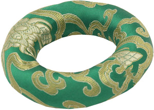 Silk Brocade Ring Cushion Pillow for Tibetan Singing Bowl Hand Made Nepal (Green) - DharmaObjects