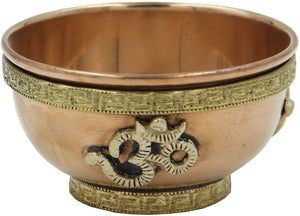 Copper Offering Bowl Incense Burner Holder (3 Inches, Om) - DharmaObjects