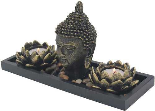 Zen Garden Buddha Head Lotus Tea Light Candle Holder Set Home Décor Gift - DharmaObjects