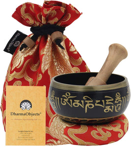 Tibetan OM MANI Singing Bowl Set ~ With Mallet, Brocade Cushion & Carry Bag ~ For Meditation, Chakra Healing, Prayer, Yoga - DharmaObjects