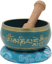 Load image into Gallery viewer, Tibetan Meditation Om Mani Singing Bowl/Cushion/Mallet (Turquoise) - DharmaObjects