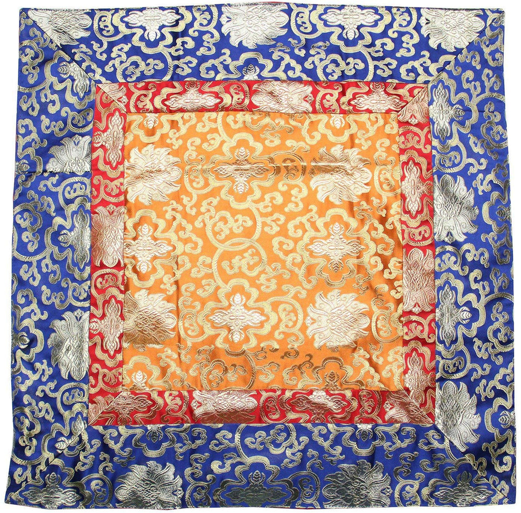 Tibetan Lotus Silk Brocade Table Runner/Shrine Cover/Altar Cloth/Table Cover (38 X 38 Inches) - DharmaObjects