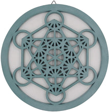 Load image into Gallery viewer, Large Metatron Cube Sacred Geometry Handcrafted Wooden Wall Decor (Turquoise, 15.75 Inches) - DharmaObjects