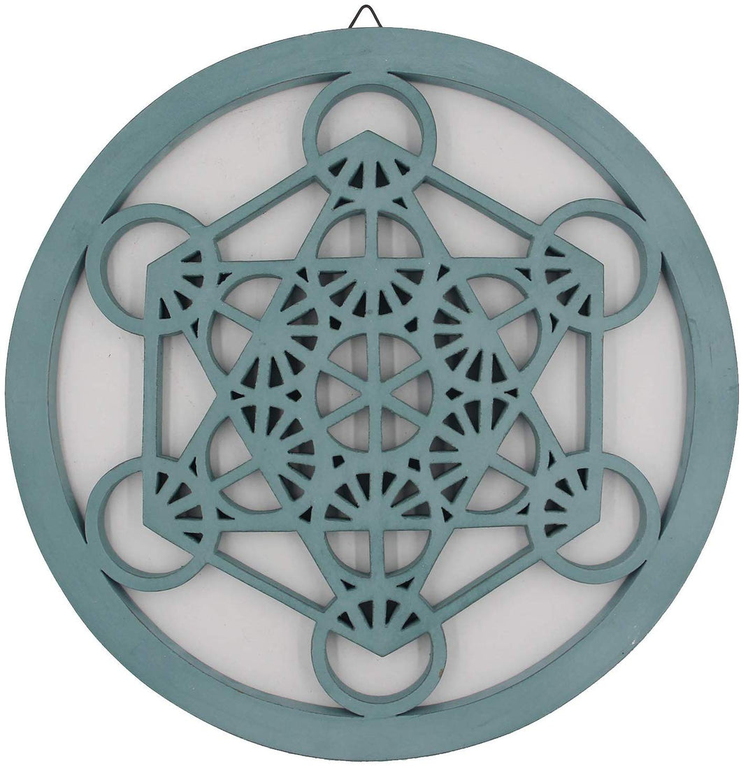 Large Metatron Cube Sacred Geometry Handcrafted Wooden Wall Decor (Turquoise, 15.75 Inches) - DharmaObjects