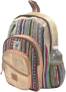 Natural Handmade Large Multi Pocket Hemp Nepal Backpack - DharmaObjects