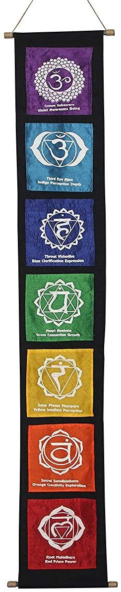 Multi Cotton 7 Chakras Signs Banner Wall Decor Wall Hanging (Chakra 2) - DharmaObjects