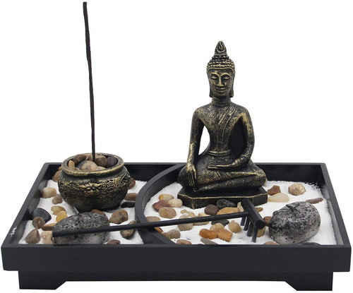 Buddha Zen Garden Tea Light Candle Holder Set (Meditation Buddha) - DharmaObjects