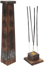 Load image into Gallery viewer, Wooden Artisan Decor Table Top Incense Stick Holder Burner Tower Stand (Star) - DharmaObjects