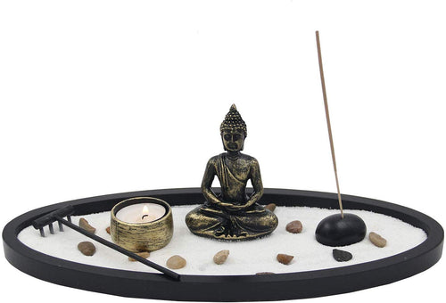 Buddha Zen Garden Tea Light Candle Holder Set (Oval Golden Buddha) - DharmaObjects