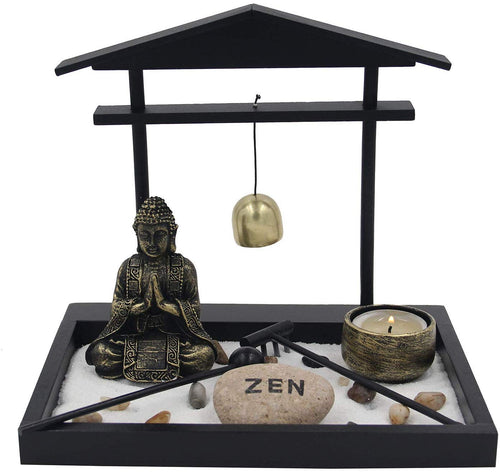 Buddha Zen Garden Tea Light Candle Holder Set (Golden Bell Buddha) - DharmaObjects