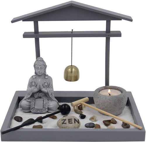 Buddha Zen Garden Tea Light Candle Holder Set (Gray Bell Buddha) - DharmaObjects
