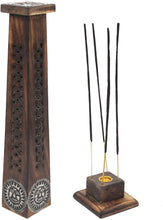 Load image into Gallery viewer, Wooden Artisan Decor Table Top Incense Stick Holder Burner Tower Stand (Sun) - DharmaObjects