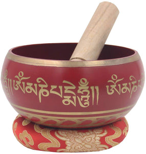 Tibetan Meditation Om Mani Padme Hum Peace Singing Bowl Complete Set (X-Large, Red) - DharmaObjects