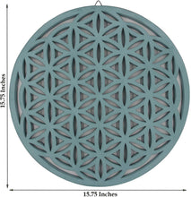 Load image into Gallery viewer, Large Flower of Life Sacred Geometry Positive Energy Handcrafted Wooden Wall Decor Hanging Art (Turquoise, 15.75 Inches) - DharmaObjects