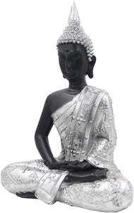 Meditating Buddha Statue Zen Mindfulness Peace Harmony (Silver, 11 Inches) - DharmaObjects